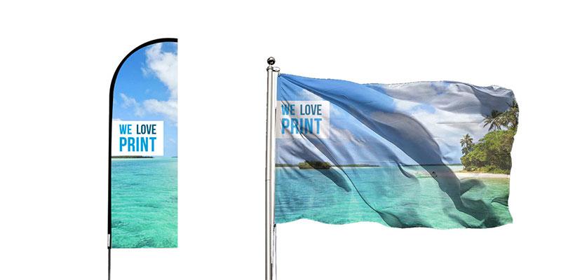 Laat nu je vlaggen en beachflags drukken met 10% korting